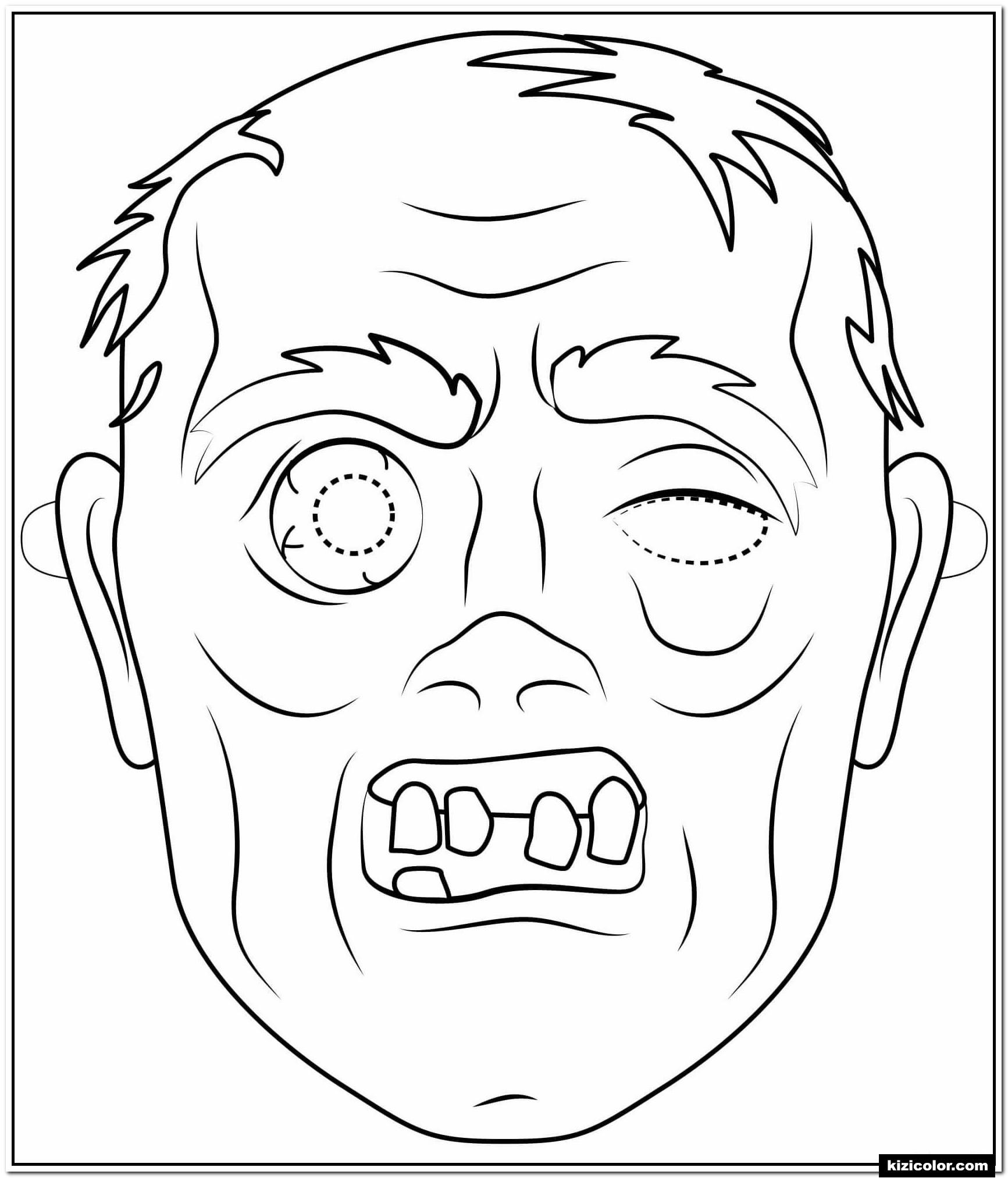 🎨 Zombie Maske Skizzieren Halloween - Ausmalbilder für Halloween Masken Zum Ausdrucken Kostenlos