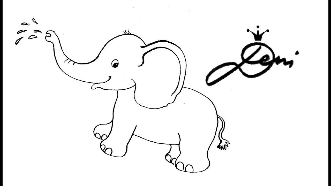 🐘 Elefant Schnell Zeichnen Lernen 🐘 Tiere Zoo Für Kinder 🐘 How To Draw  🐘 Как Се Рисува Слонче bestimmt für Tiere Einfach Zeichnen