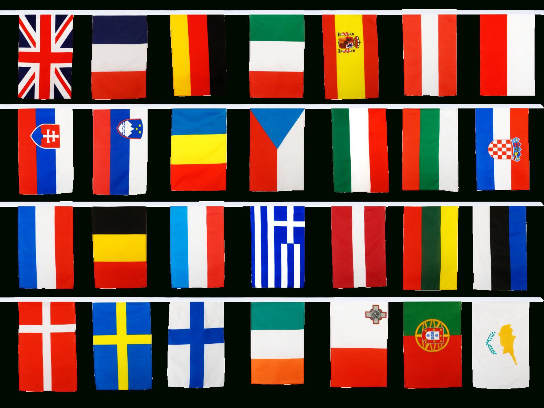 Fahnenkette Europäische Union Eu 28 Staaten - 30 X 45 Cm bei Flaggen Der Eu Länder