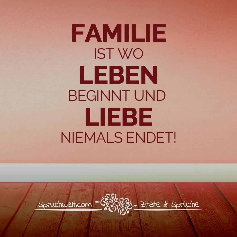 Familie Ist Wo Leben Beginnt Und Liebe Niemals Endet bestimmt für Sprüche Über Das Leben Und Die Liebe