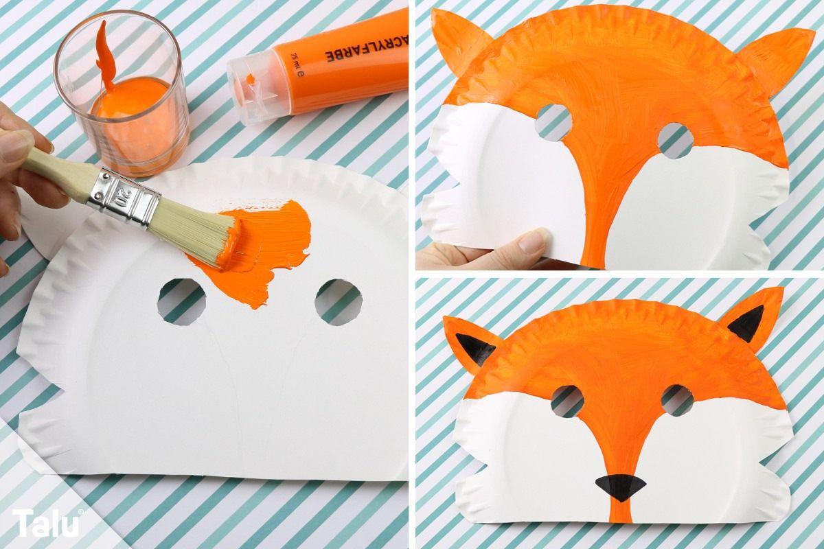 Faschingsmasken Basteln / Anleitung - Kindermasken Aus für Bastelvorlage Fuchs
