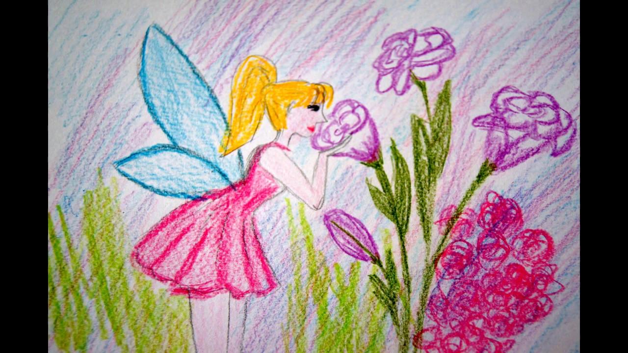 Fee Mit Blumen Malen innen Feen Zeichnen