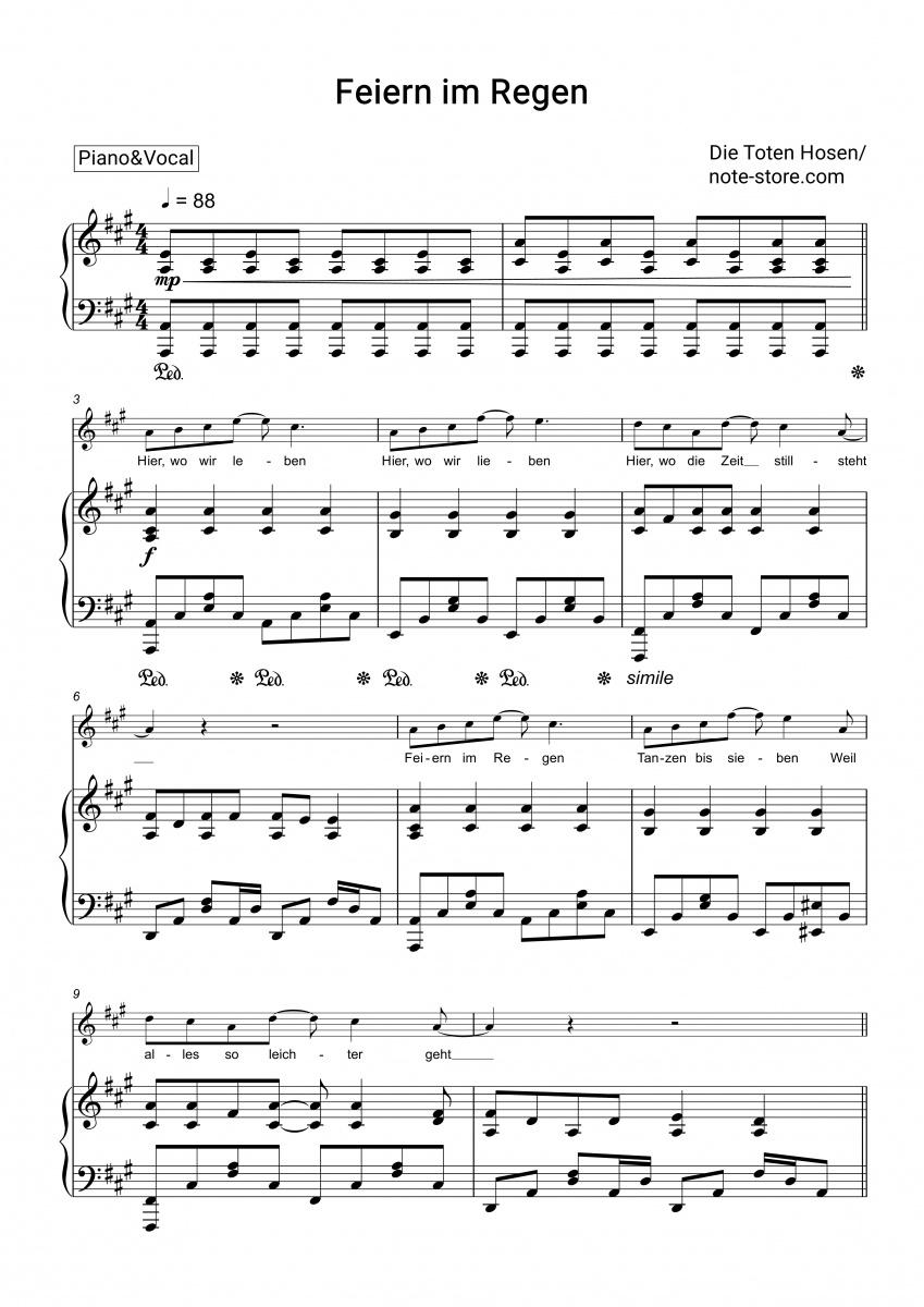 Feiern Im Regen (Klavier&gesang) in Tage Wie Diese Noten Kostenlos