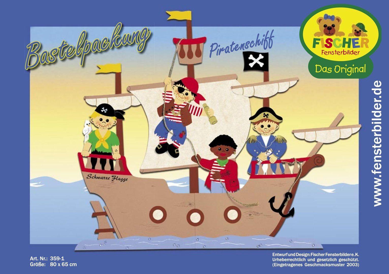 Fensterbild Bastelvorlage Piratenschiff   Piraten Schiff über Bastelvorlage Schiff Tonkarton