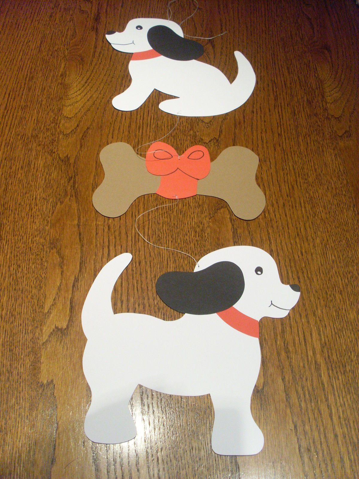 Fensterbild -Kette Tonkarton Deko Basteln Tier Hunde Knochen in Bastelvorlage Hund
