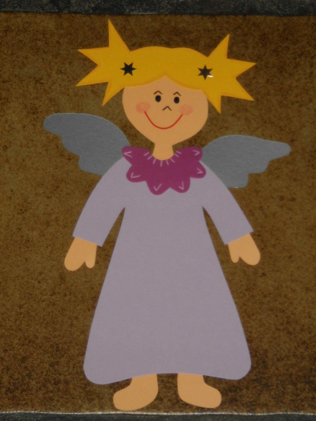 Fensterbild Tonkarton Engel Weihnachten Winter Engelchen für Engel Bastelvorlage