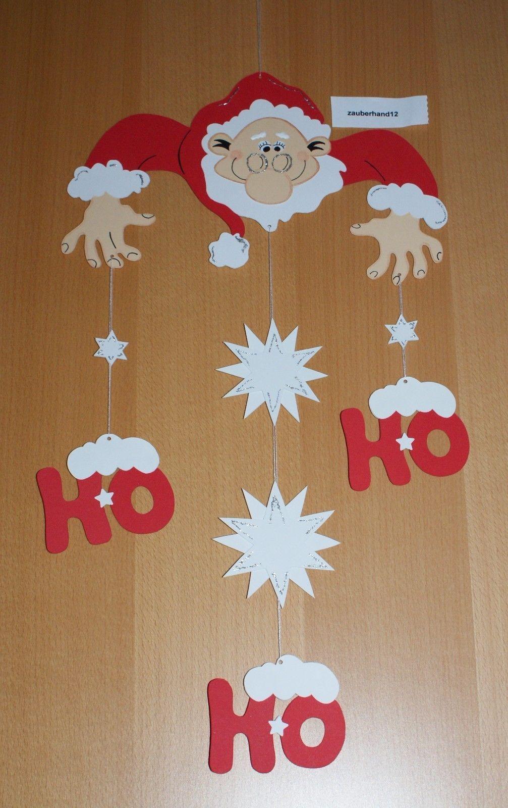 Fensterbild,weihnachtsmann Mobile,ho,ho Kette, Tonkarton bei Weihnachtsmann Bastelvorlage