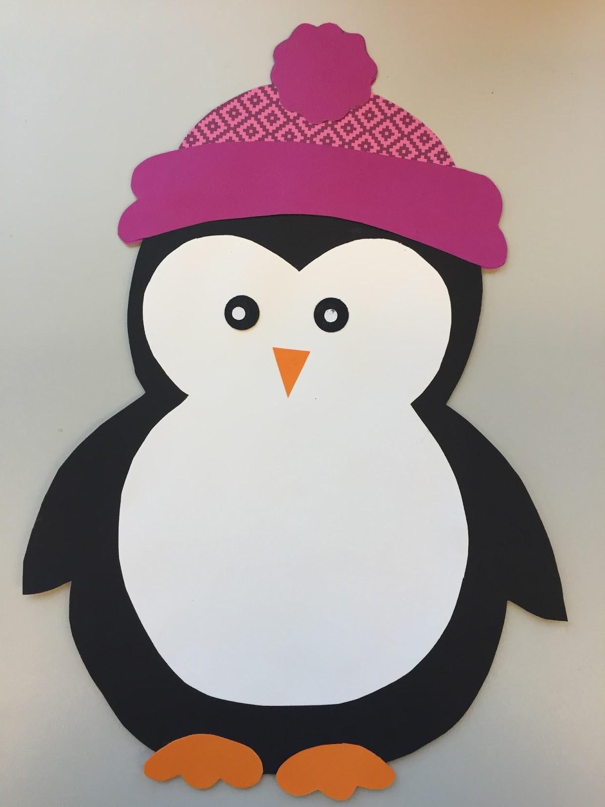 Fensterdeko: Pinguin & Freebie – Klassenkunst über Pinguin Bastelvorlage