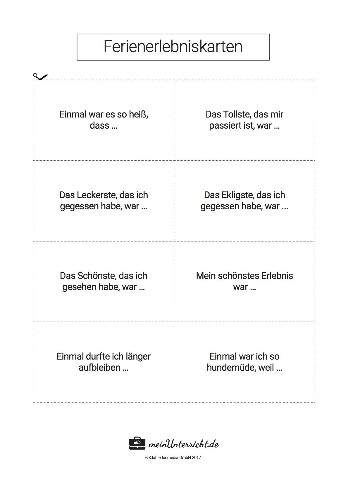 Ferienerlebnisse Erzählen: Unterrichtsideen Und über Feriengeschichte Schreiben Grundschule