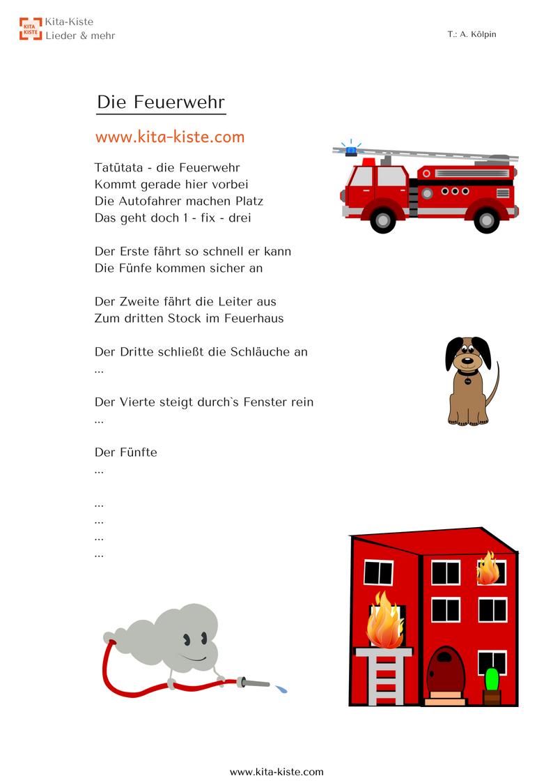 Feuerwehr - Fingerspiel Für #krippe Und #kindergarten - Aus verwandt mit Thema Feuerwehr Im Kindergarten Basteln