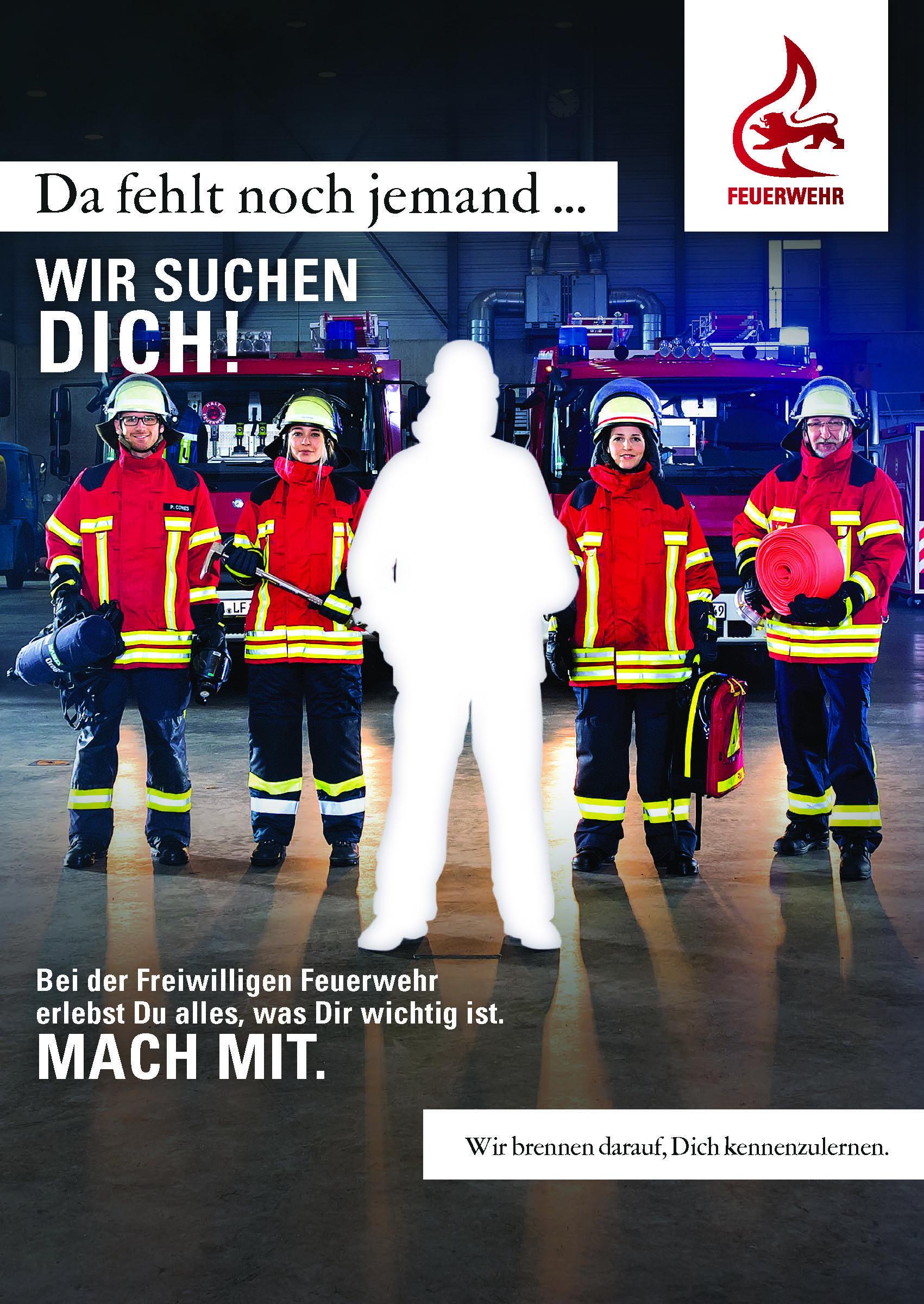 Feuerwehr-Werbekampagne über Feuerwehr Motive