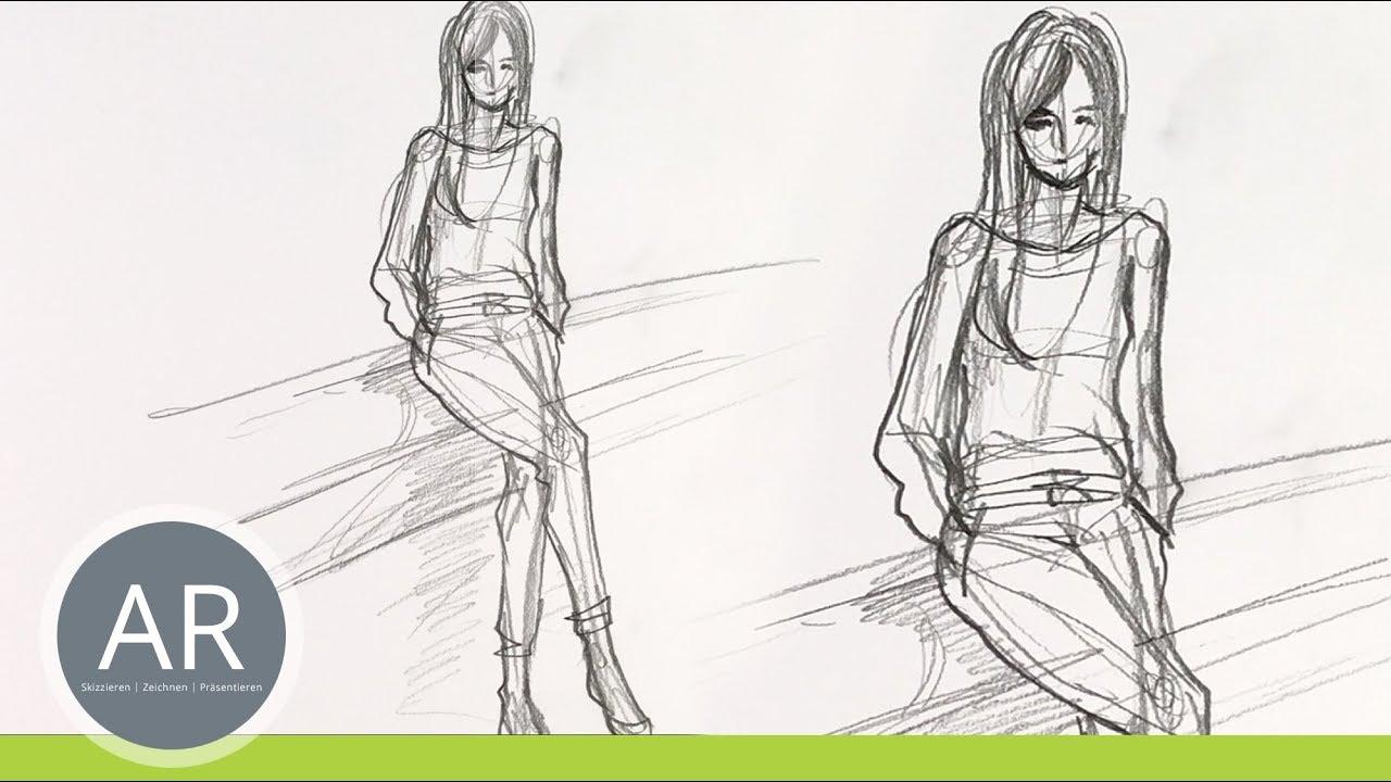 Figuren Zeichnen. Menschen Zeichnen. Figurine Zeichnen.  Mappenvorbereitungskurs Mode-Design für Menschen Malen Lernen