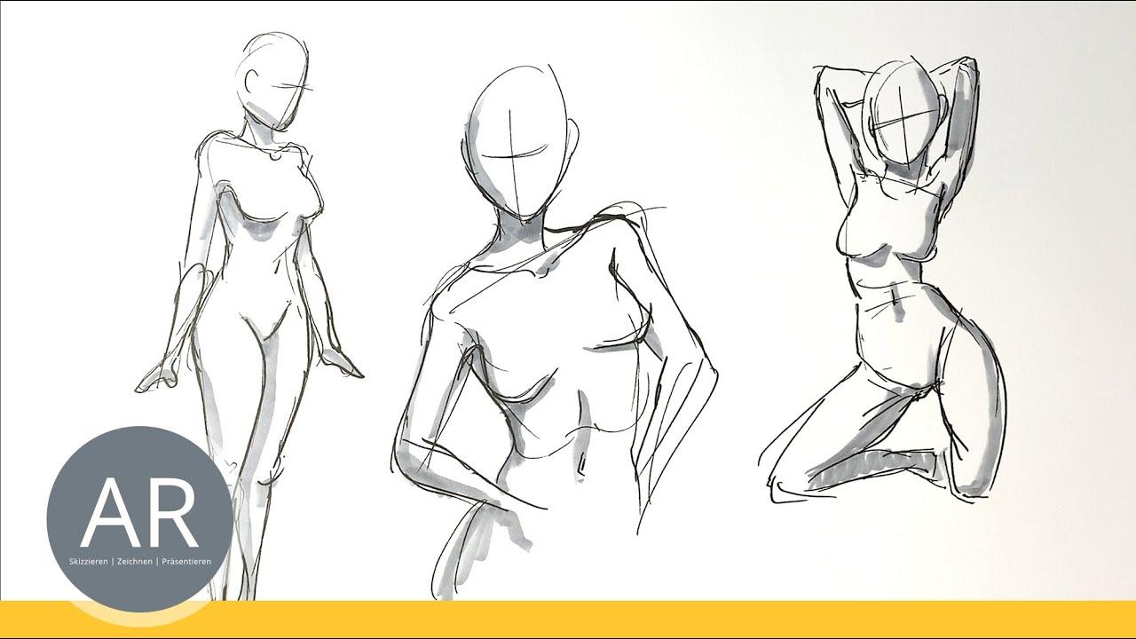 Figürliches Zeichnen Lernen. Menschen In Bewegung Zeichnen.  Kommunikationsdesign Mappe Berlin bei Menschen Malen Lernen