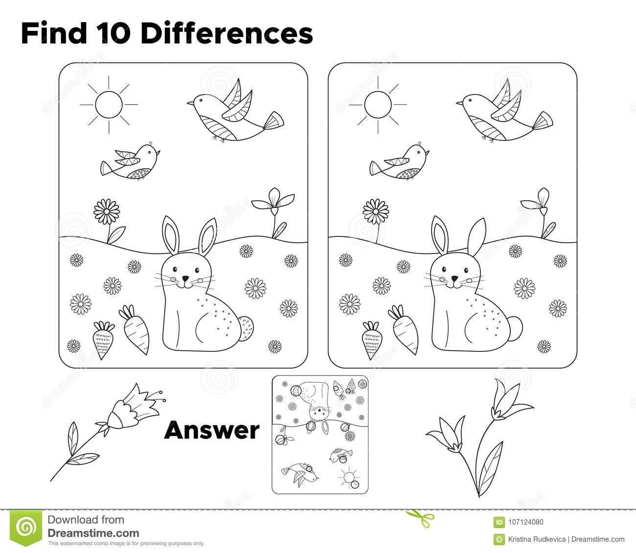 Finden Sie Zehn Unterschiede, Aufgabe Für Vorschulkinder bestimmt für Unterschiede Finden Kostenlos