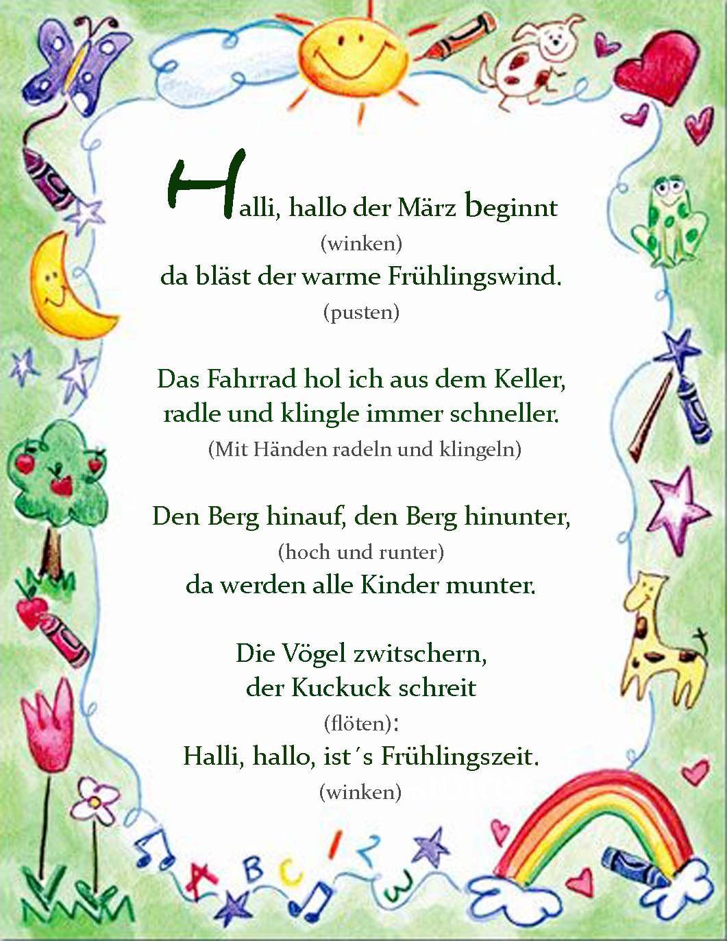 Fingerspiel #frühling #märz #kindergarten #erziehung in Frühlingsgedichte Für Kindergartenkinder