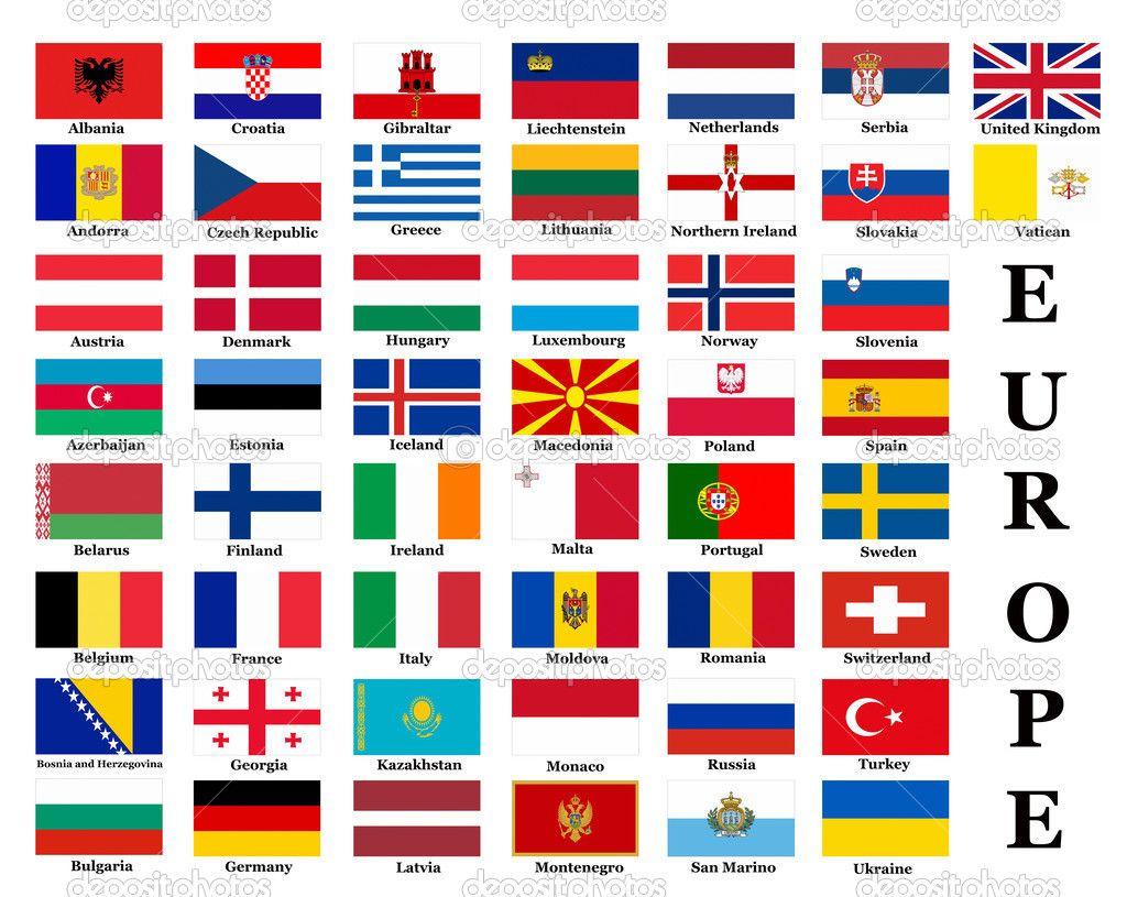 Flagge Der Europa Ländern   Europa Länder, Flaggen Europas mit Flaggen Der Eu Länder