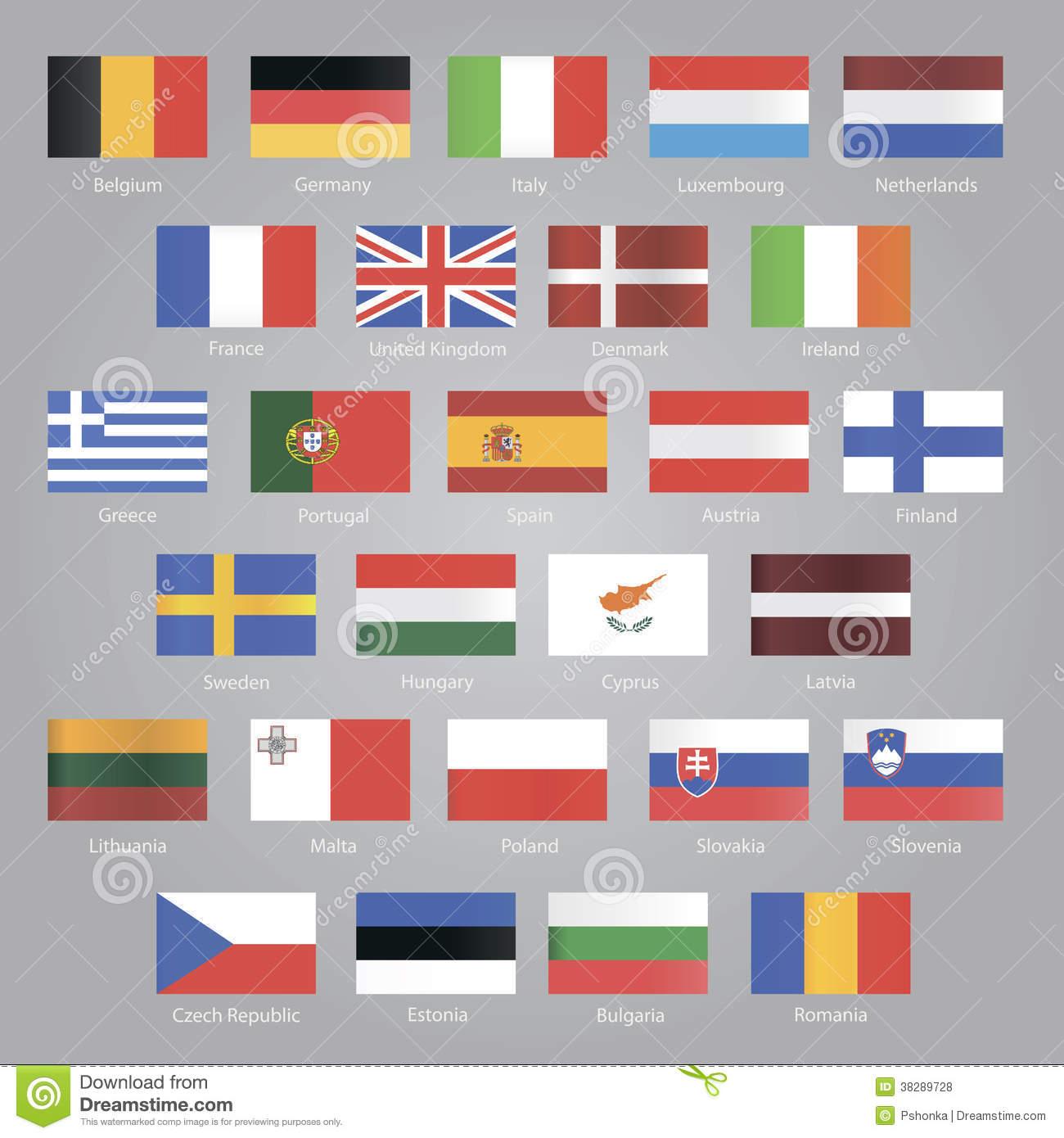 Flaggen Von Eu-Ländern Vektor Abbildung. Illustration Von für Flaggen Der Eu Länder