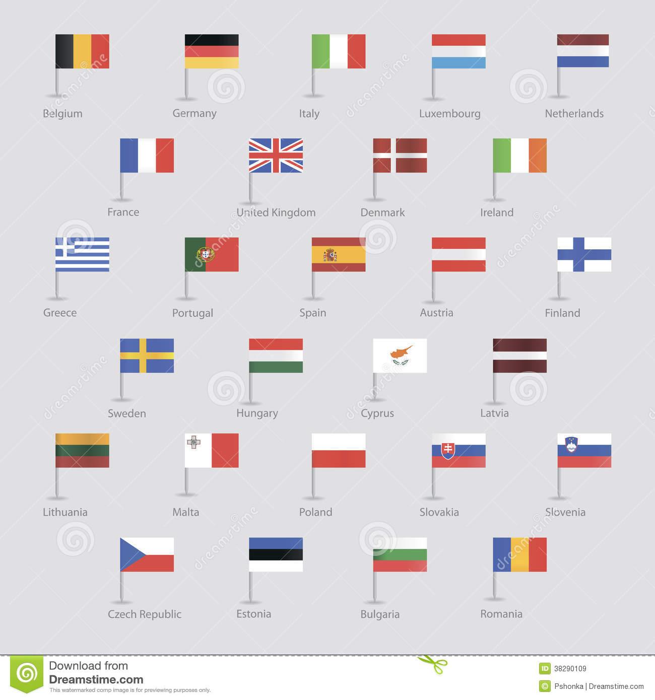 Flaggen Von Eu-Ländern Vektor Abbildung. Illustration Von innen Flaggen Der Eu Länder