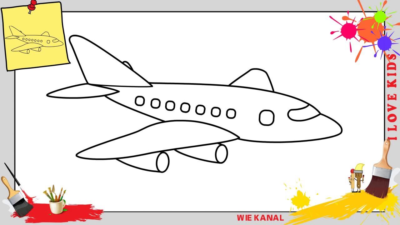 Flugzeug Zeichnen Schritt Für Schritt Für Anfänger & Kinder - Zeichnen  Lernen 3 innen Düsenjet Zum Ausmalen