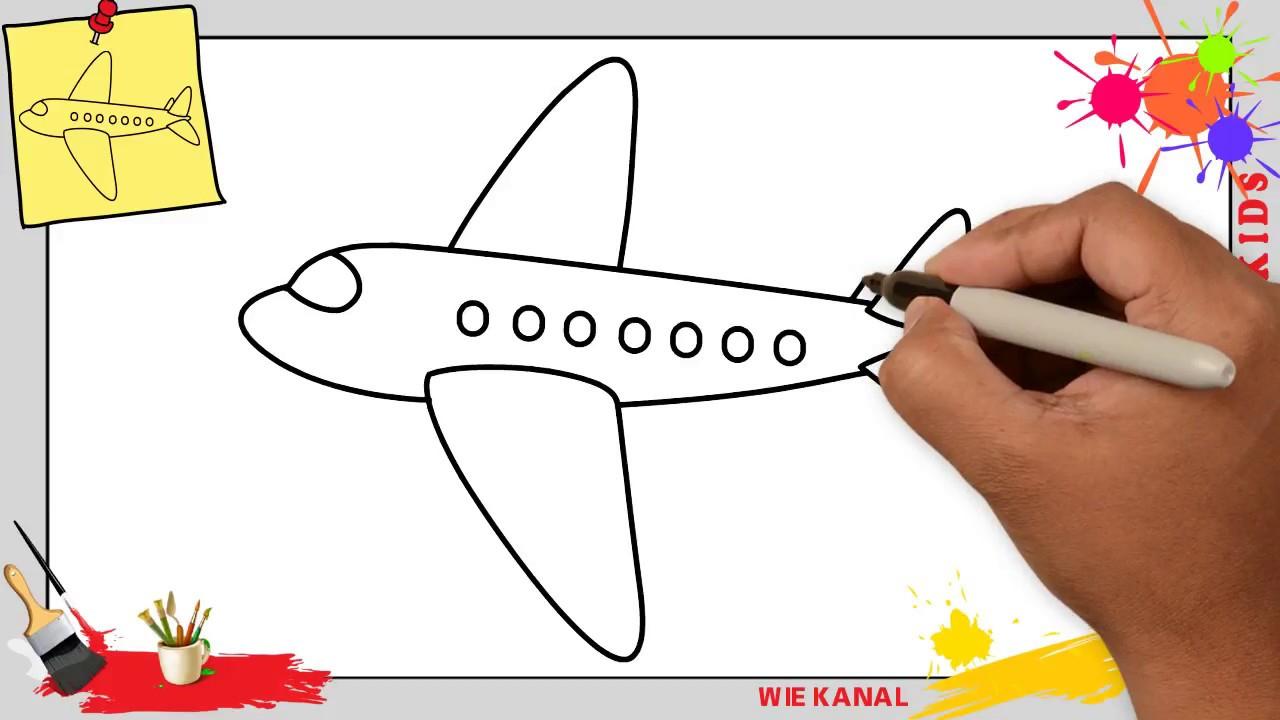 Flugzeug Zeichnen Schritt Für Schritt Für Anfänger & Kinder - Zeichnen  Lernen 4 bei Düsenjet Zum Ausmalen