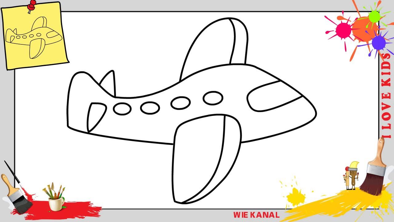 Flugzeug Zeichnen Schritt Für Schritt Für Anfänger & Kinder - Zeichnen  Lernen 5 ganzes Düsenjet Zum Ausmalen