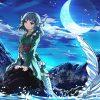 Fotos Meerjungfrauen Anime Fantasy Junge Frau Mond Schwanz bestimmt für Anime Meerjungfrau