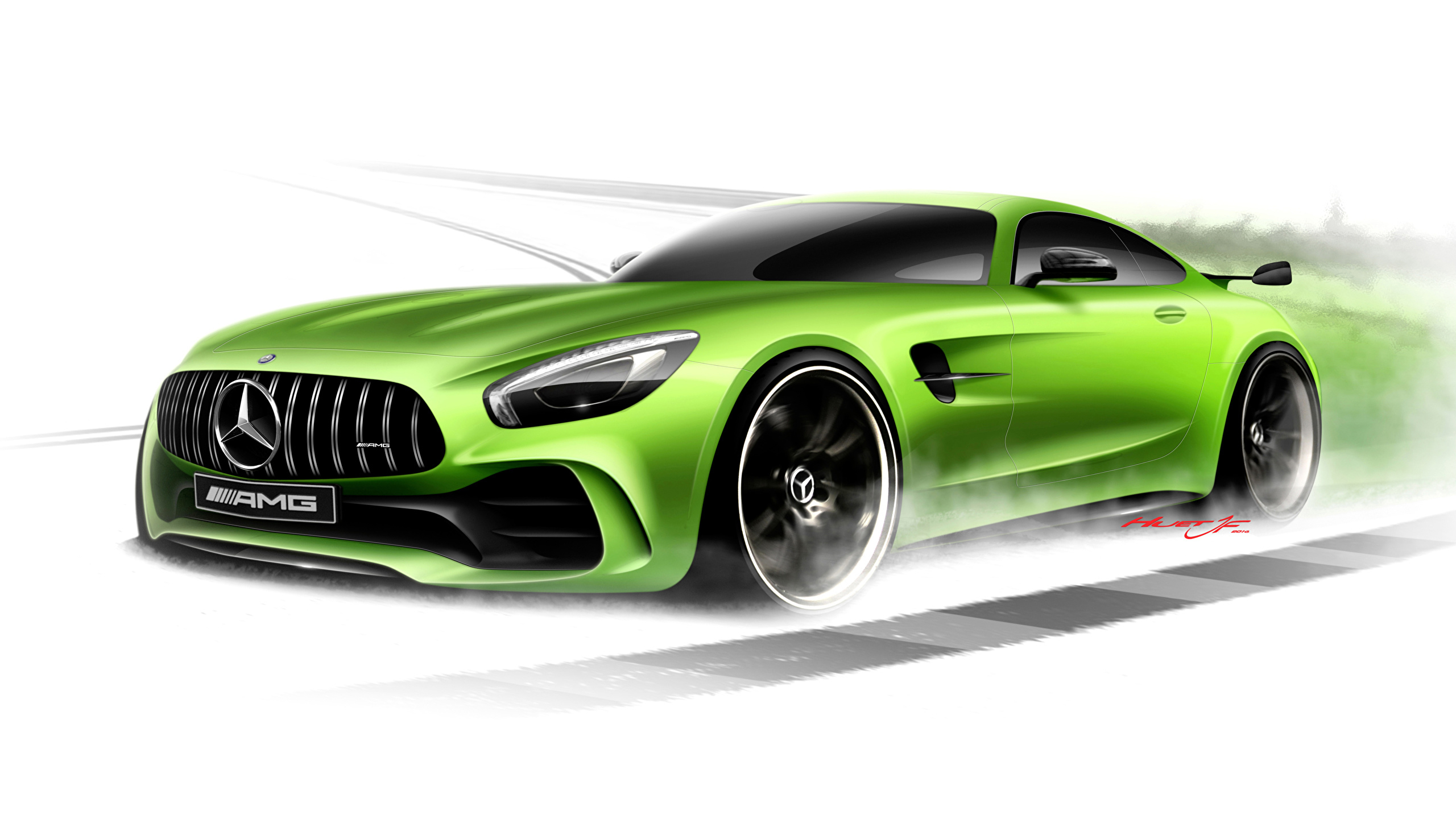 Fotos Mercedes-Benz Amg Gt3 C190 Hellgrüne Auto Gezeichnet innen Auto Bilder Gezeichnet