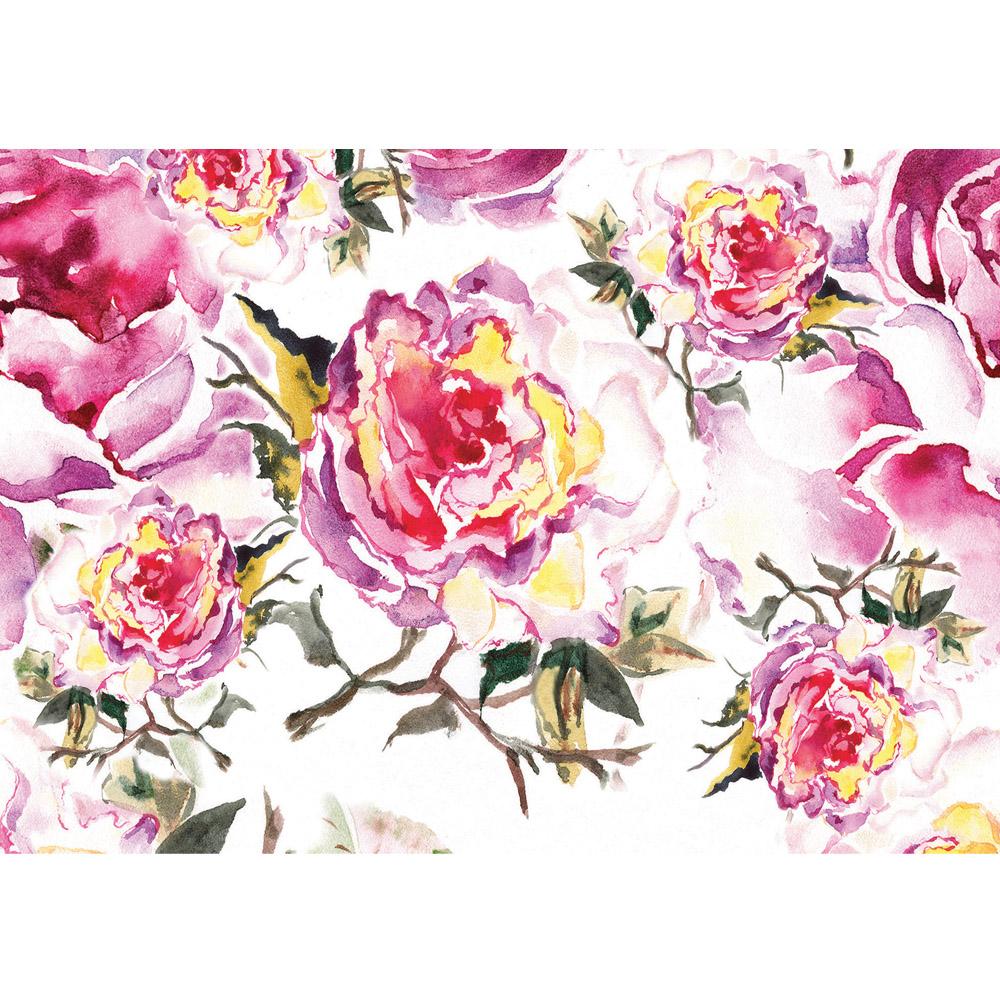 Fototapete Pfingstrosen Gemalt | Vlies | Blumen Tapete Rosen Malerei Rosa innen Rosen Bilder Gemalt