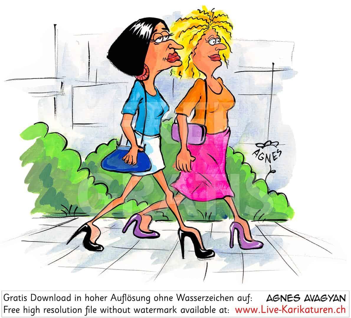 Frauen Highheels Altmodisch — Agnes Live-Karikaturen verwandt mit Comicfiguren Frauen