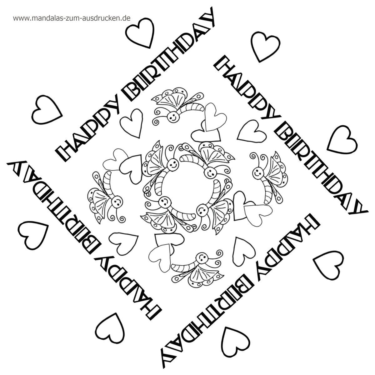 Free Mandala Vorlage Happy Birthday Zum Download | Mandalas ganzes Mandalas Geburtstag