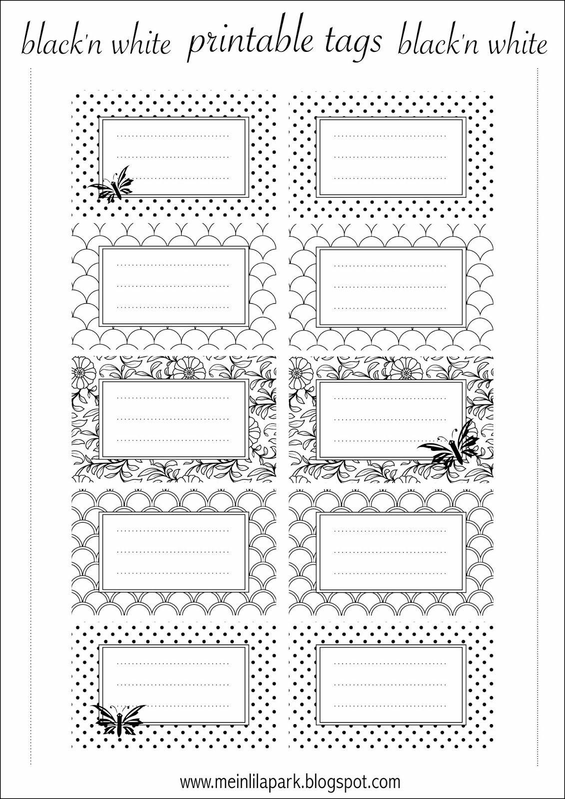 Free Printable Tags Black And White - Ausdruckbare Etiketten verwandt mit Namensschilder Selber Drucken Vorlagen