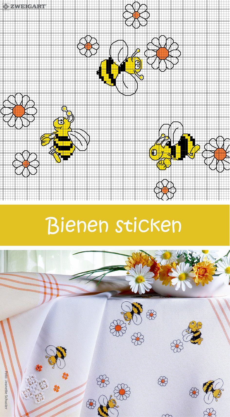 Fröhliche Bienen Sticken - Entdecke Zahlreiche Kostenlose in Stickbilder Vorlagen Kostenlos