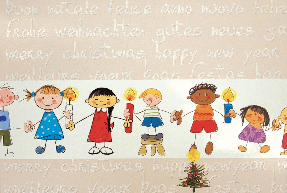 Fröhliche Grußkarte Mit Kindern Verschiedener Länder für Weihnachtskarte Für Kinder