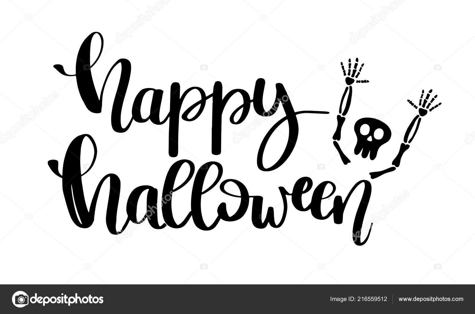 Fröhliche Halloween-Vektorkarte Mit Schriftzug — Stockvektor verwandt mit Happy Halloween Schriftzug
