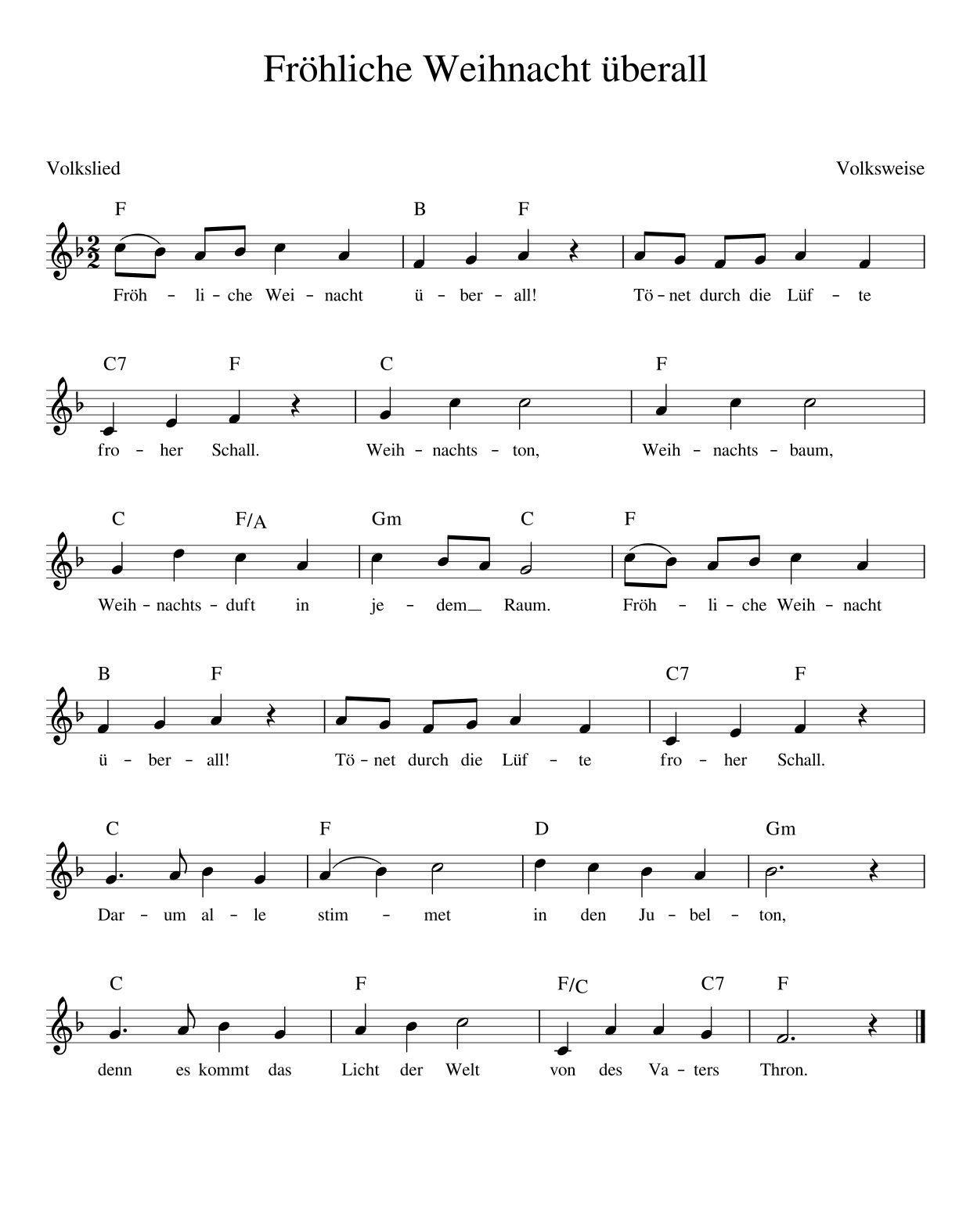 Fröhliche Weihnacht Überall Weihnachtslieder Mit Noten bei Deutsche Weihnachtslieder Mp3 Kostenlos