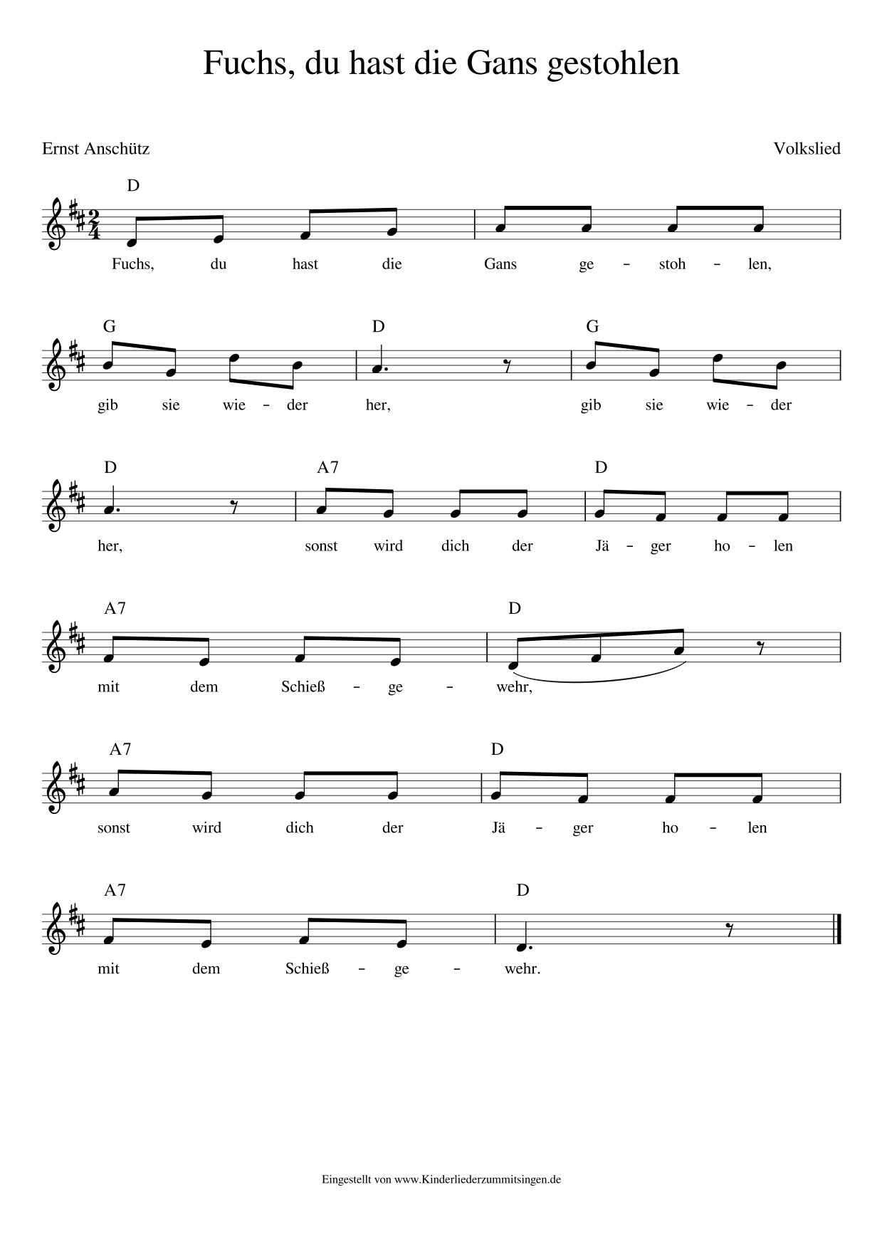 Fuchs Du Hast Die Gans Gestohlen - Kinderlieder - Noten bei Fuchs Du Hast Die Gans Gestohlen Noten