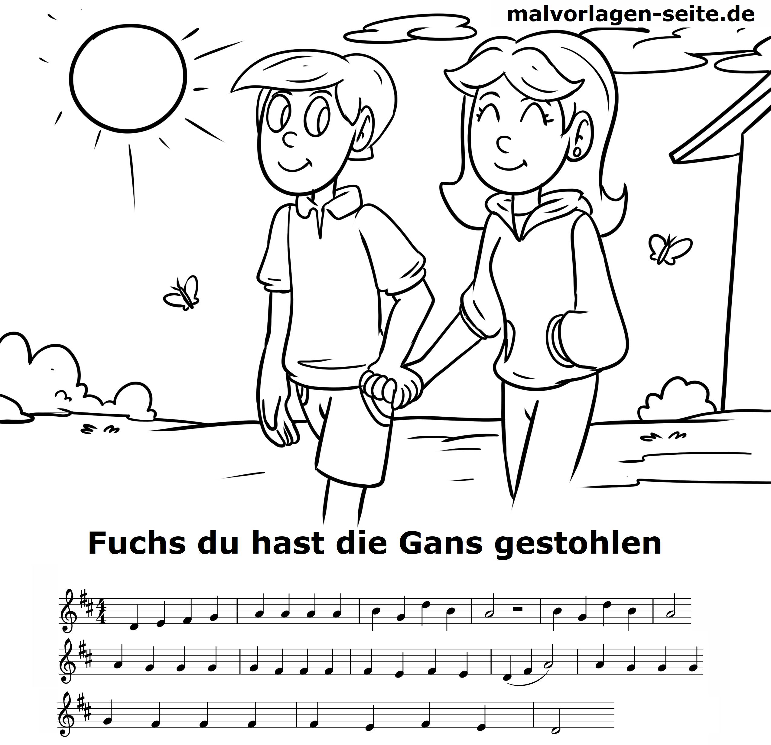 Fuchs Du Hast Die Gans Gestohlen Noten Und Text Zum Ausdrucken in Fuchs Du Hast Die Gans Gestohlen Noten
