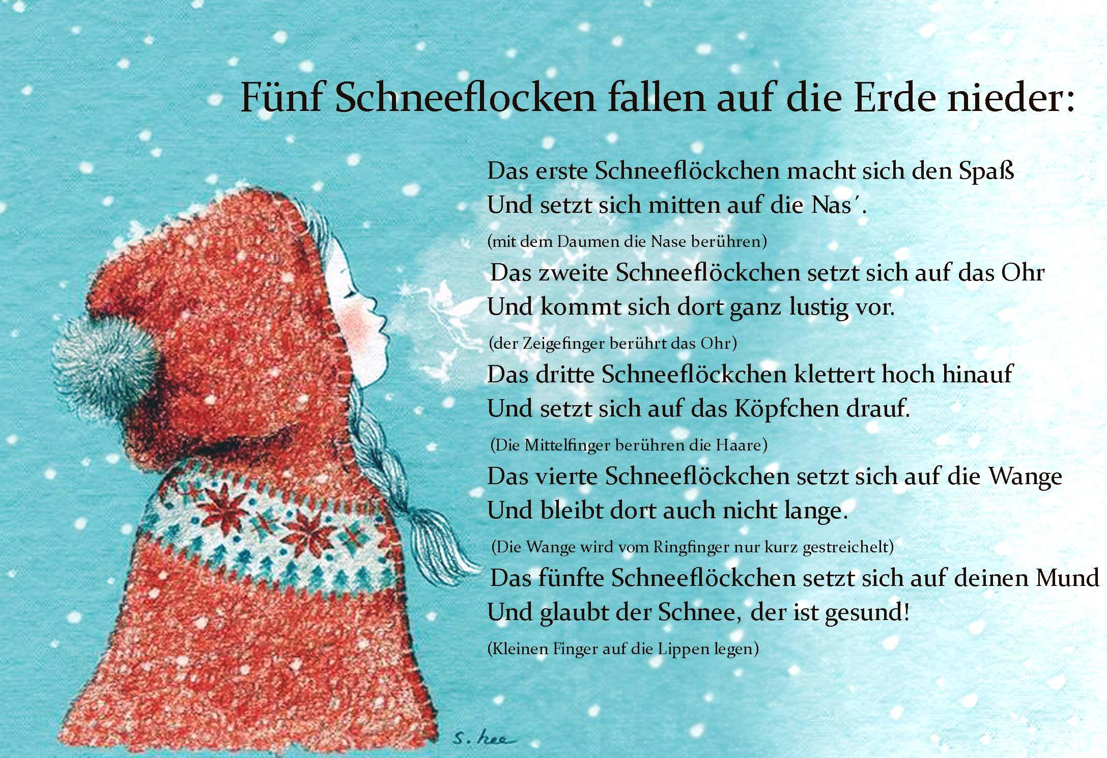 Fünf Schneeflocken Fallen Auf Die Erde Nieder | Fingerspiele bei Weihnachtsgedichte Grundschulkinder
