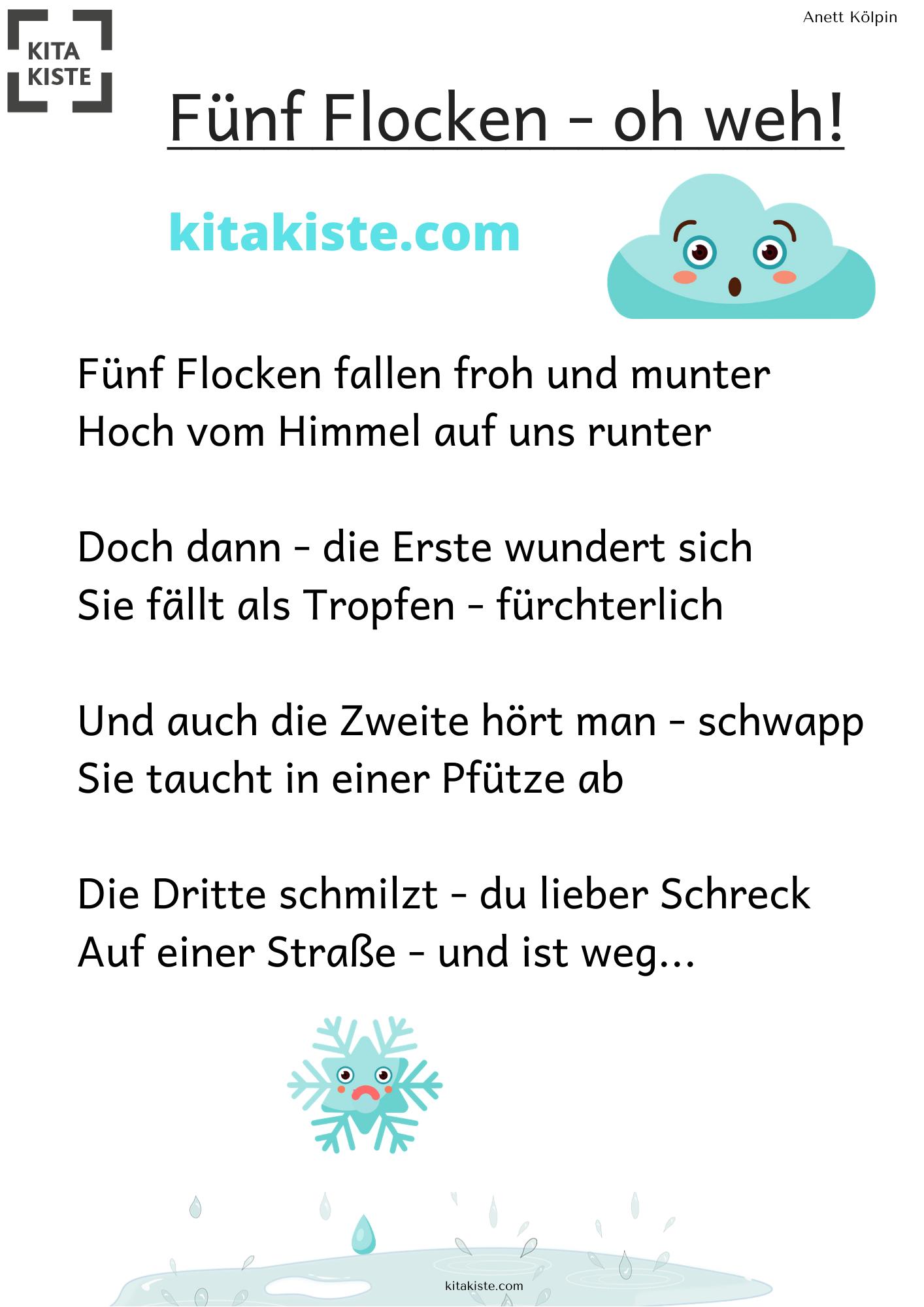Für Winter Ohne Schnee - Fingerspiel, Wenn Es Gleich Wieder ganzes Gedicht Winter Grundschule