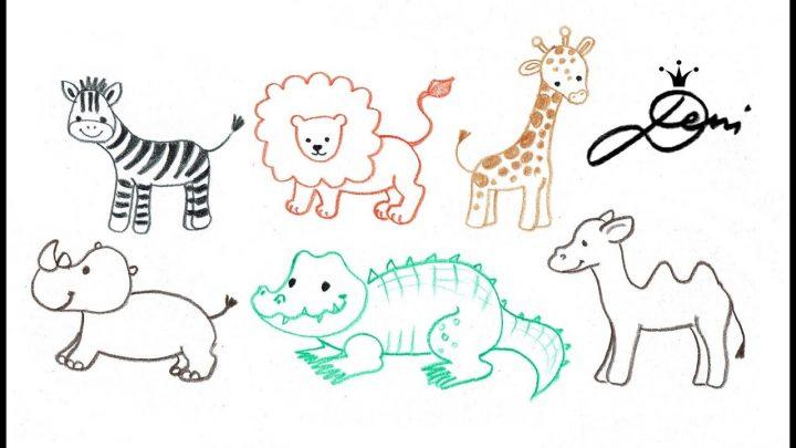 Ganz Einfach Tiere Zeichnen 🐪 Zoo Schnell Malen 🐊 How To Draw Animals 🐫  Как Се Рисуват Лесни Живо über Tiere Einfach Zeichnen