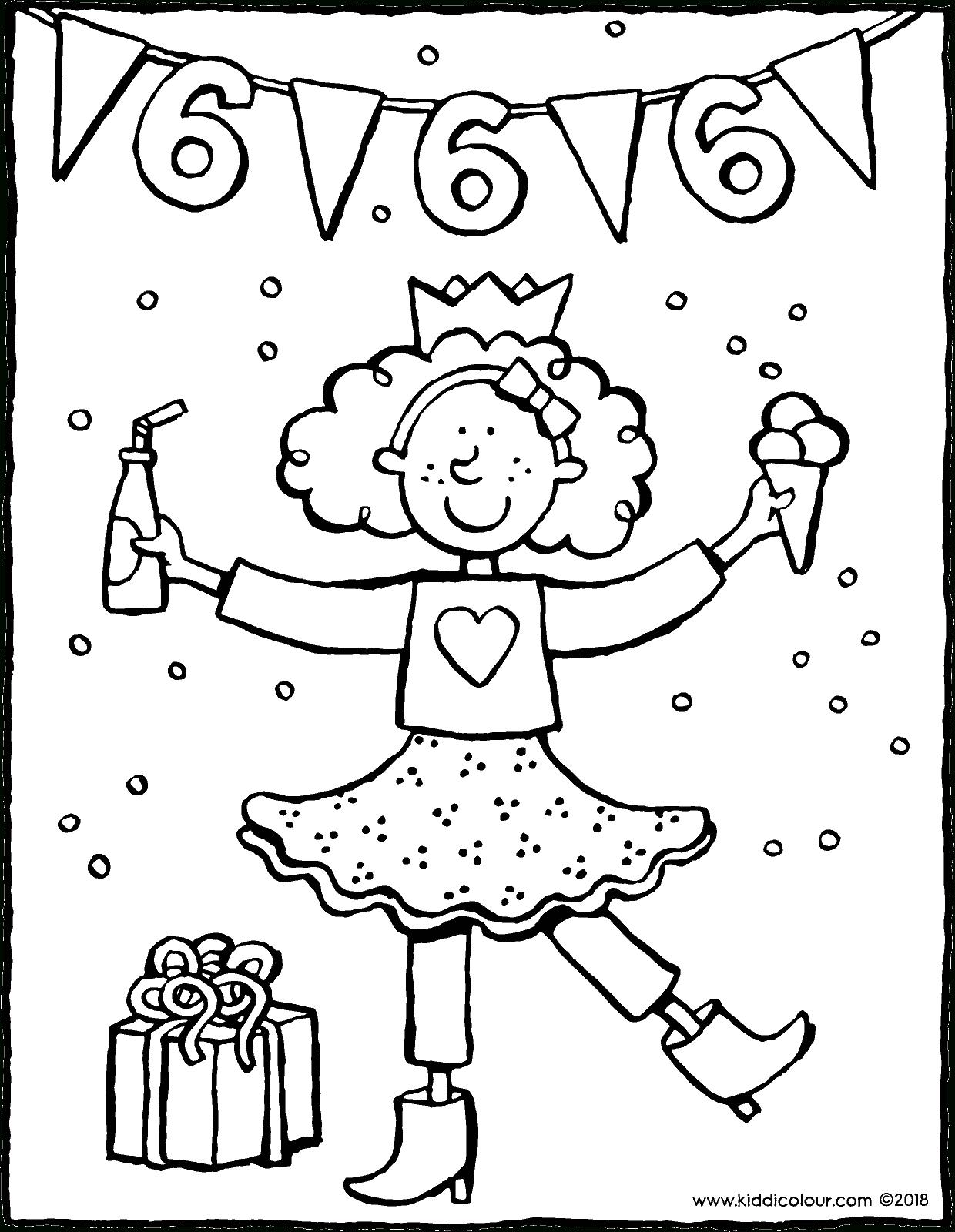 Geburtstag Mädchen 6 Jahre - Kiddimalseite für Ausmalbild Mädchen