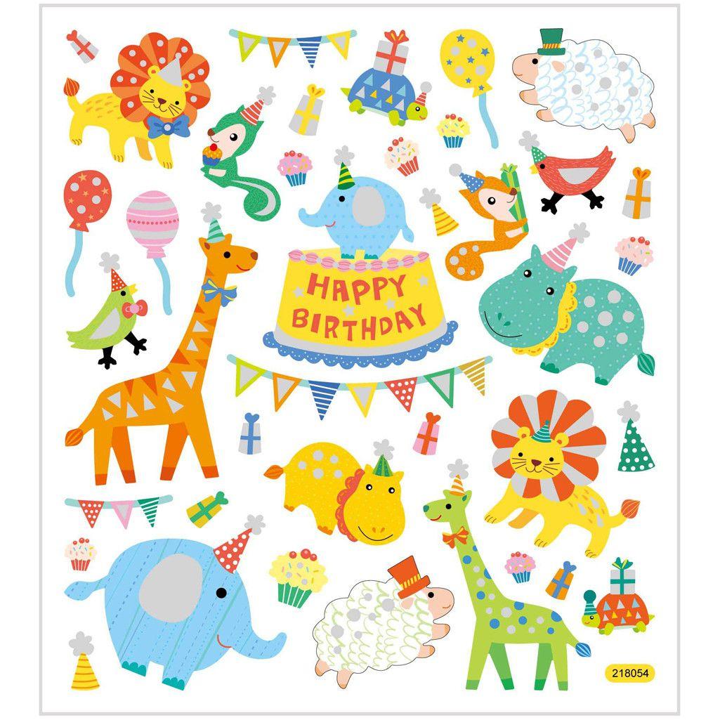 Geburtstag Tier Sticker Mit Glitzer- Blatt 15 X 16,5 Cm ganzes Geburtstagsmotive