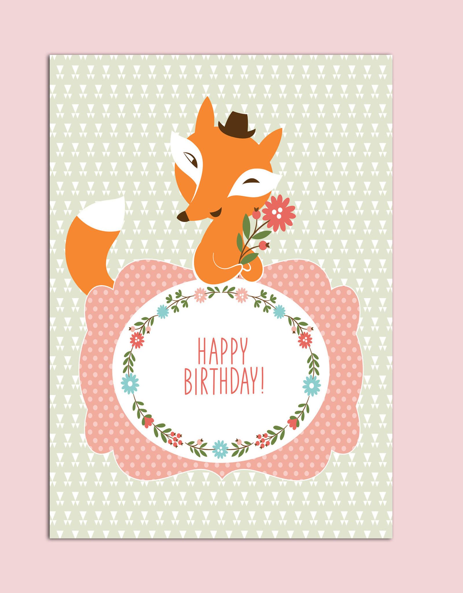 "Geburtstagskarte ""fuchs"" Postkarte Geburtstag mit Geburtstagskarte Geburtstag"