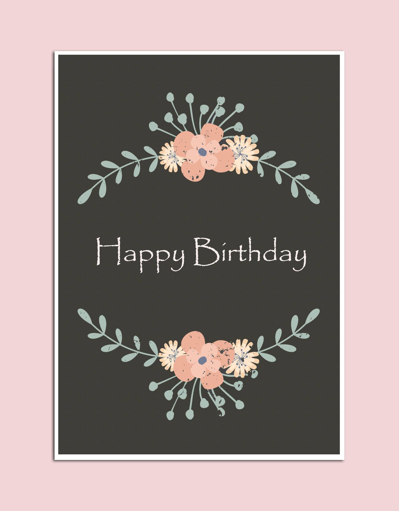 "Geburtstagskarte ""vintige Dunkel"" Postkarte Geburtstag in Geburtstagskarte Geburtstag"