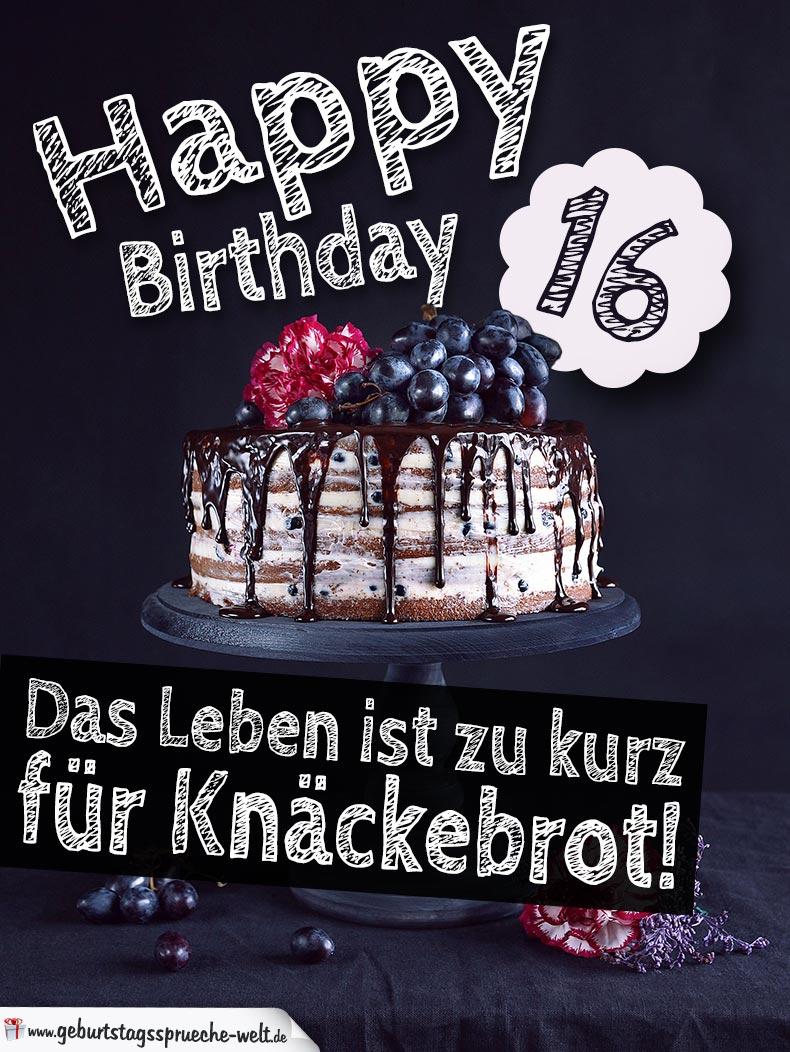 Geburtstagstorte 16. Geburtstag Happy Birthday über Sprüche Zum 16 Geburtstag Witzig Kurz