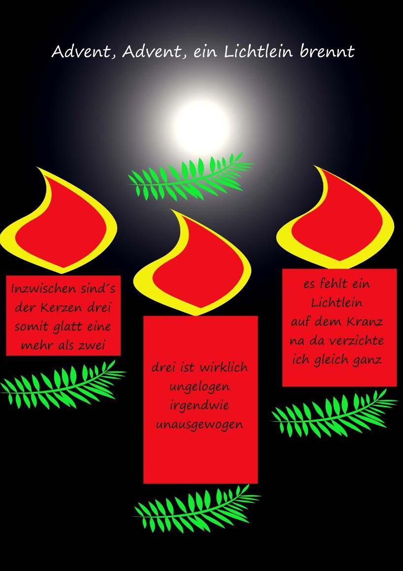 Gedicht Advent, Advent, Ein Lichtlein Brennt (3. Advent) Von bestimmt für Advent Advent Ein Türke Brennt