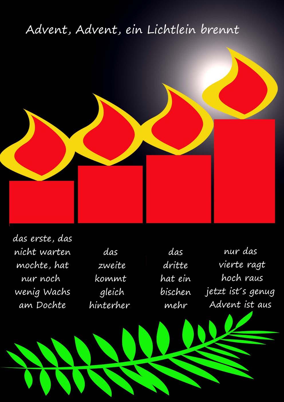 Gedicht Advent, Advent, Ein Lichtlein Brennt (4. Advent) Von innen Advent Advent Ein Türke Brennt