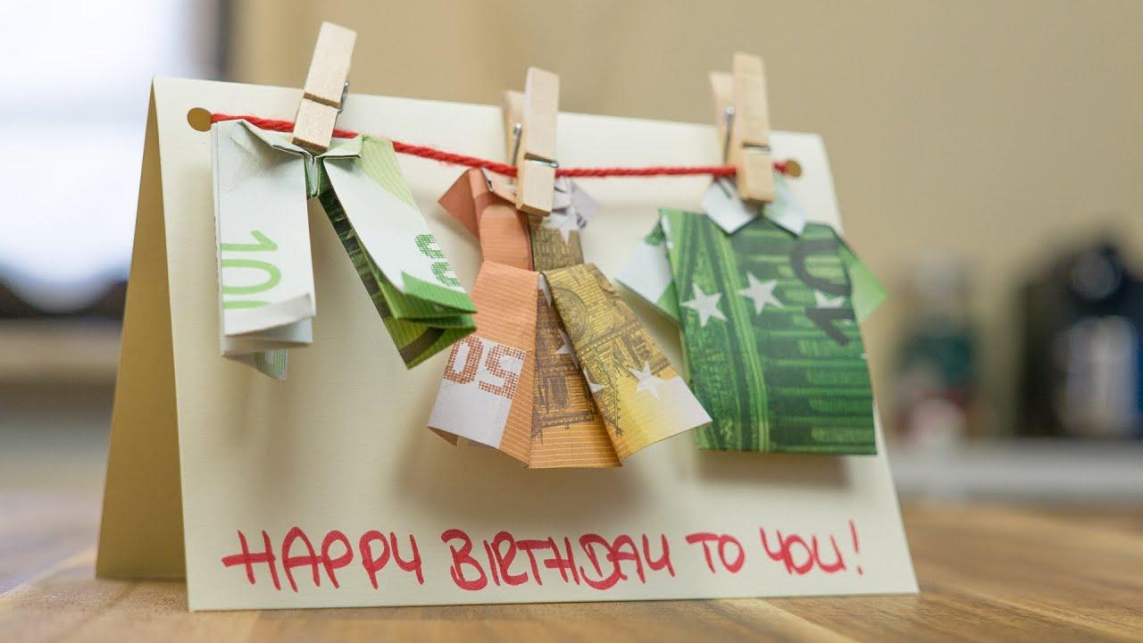 Geldgeschenk-Idee Geburtstag: Basteln Einer Glückwunschkarte mit Geldgeschenke Geburtstag 60 Basteln