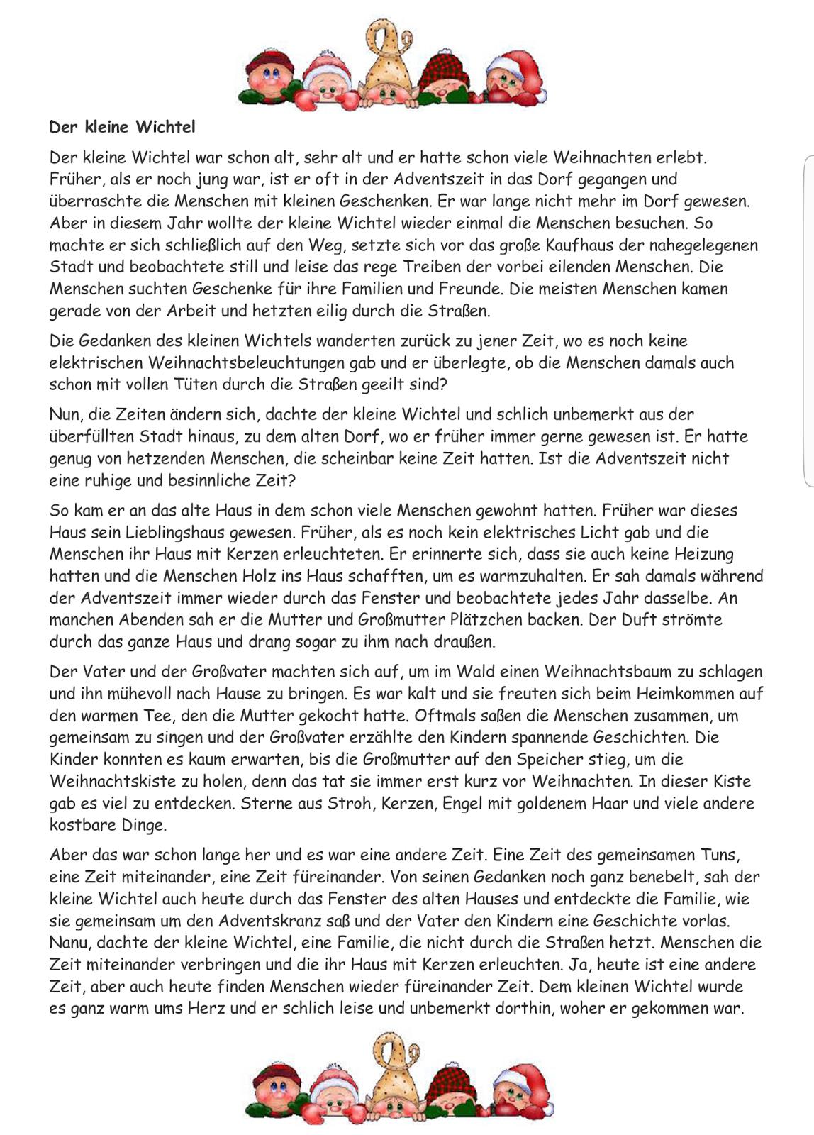 """Geschichte """"der Kleine Wichtel""""   Weihnachten Geschichte ganzes Lustige Weihnachtsgeschichten Für Kindergartenkinder Kurz"""