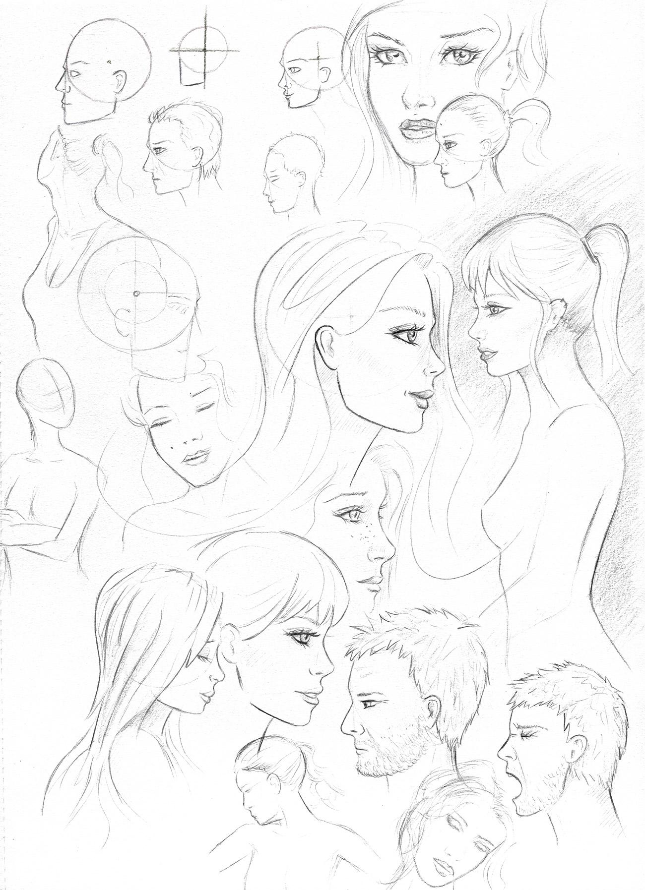 Gesicht Im Profil - Seitliches Gesicht ganzes Gesicht Von Der Seite Zeichnen